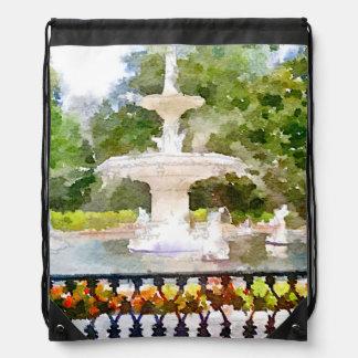 Forsyth Fountain in Savannah GA Watercolor Print Drawstring Backpack