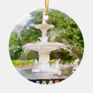 Forsyth Fountain in Savannah GA Watercolor Print Double-Sided Ceramic Round Christmas Ornament