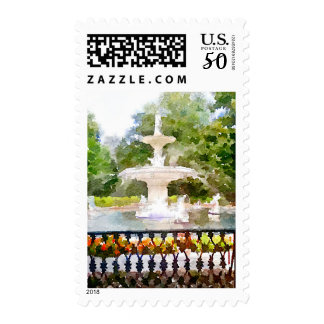Forsyth Fountain in Savannah GA Watercolor Print Postage