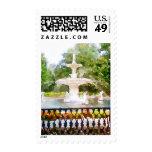 Forsyth Fountain in Savannah GA Watercolor Print Postage Stamp