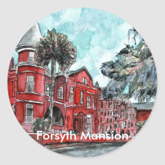 Forsyth Mansion Savannah Georgia art painting Classic Round Sticker