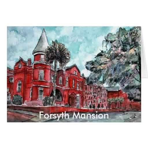 Forsyth Mansion Savannah Georgia art painting Greeting Card