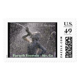 Forsyth Park Fountain, Savannah, Ga. Postage Stamp