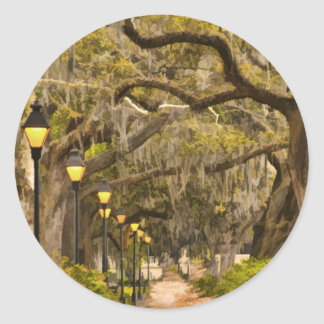 Forsyth Park - Photo, Savannah, Georgia (GA) USA Classic Round Sticker