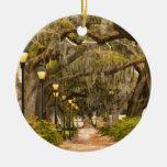 Forsyth Park - Photo, Savannah, Georgia (GA) USA Double-Sided Ceramic Round Christmas Ornament