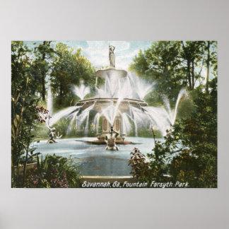 Forsyth Park Savannah 1906 Vintage Print