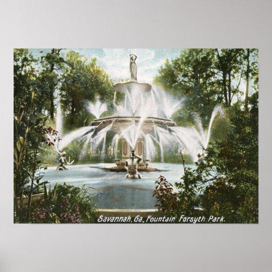 Forsyth Park, Savannah 1906 Vintage Poster