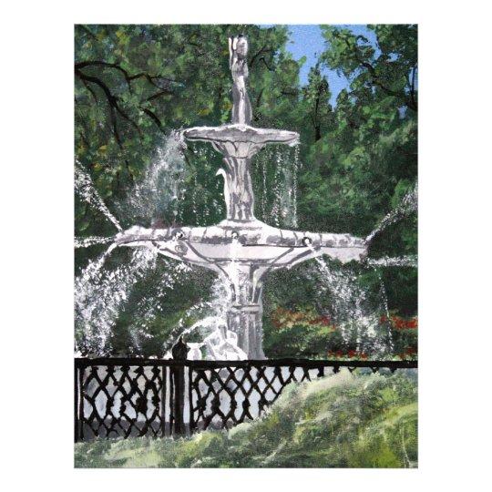 Forsyth Park Water Fountain Savannah Georgia GA Letterhead