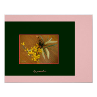 Forsythia and Rosebud Bouquet Poster