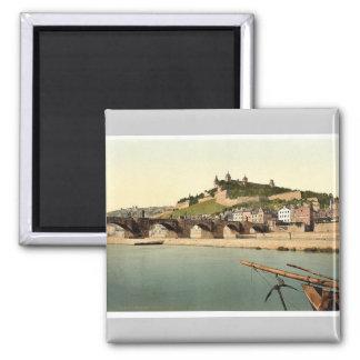 Fort and old bridge, Wurzburg, Bavaria, Germany vi 2 Inch Square Magnet