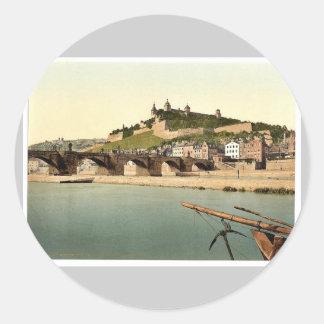 Fort and old bridge, Wurzburg, Bavaria, Germany vi Classic Round Sticker
