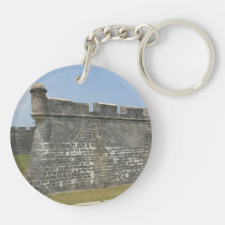 Fort at St Augustine Corner view Double-Sided Round Acrylic Keychain