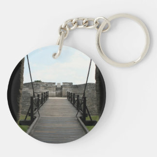 Fort at st augustine looking from castle Double-Sided round acrylic keychain