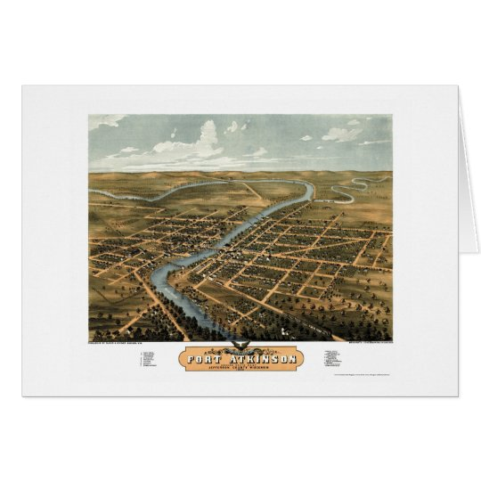 Fort Atkinson, WI Panoramic Map - 1870 Card