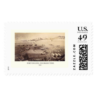 Fort Collins, CO Panoramic Map - 1865 Postage Stamp
