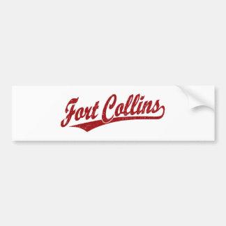 Fort Collins script logo in red Car Bumper Sticker