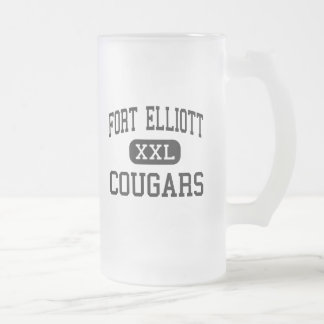 Fort Elliott - Cougars - High - Briscoe Texas Frosted Glass Beer Mug