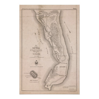 Fort Fisher Civil War Map Poster