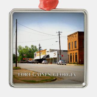 FORT GAINES, GEORGIA SQUARE METAL CHRISTMAS ORNAMENT