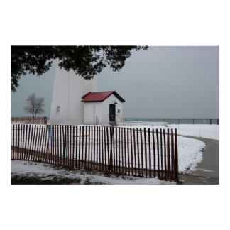 Fort Gratiot Light with Fence 2 Print