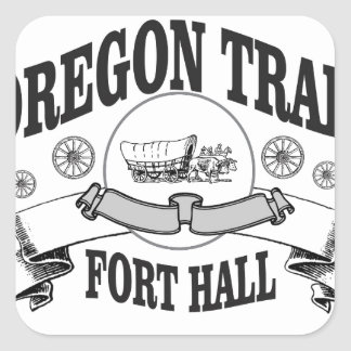 black and white covered wagon. fort hall covered wagon square sticker black and white