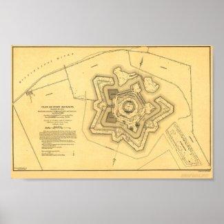 Fort Jackson After Battle Map Poster
