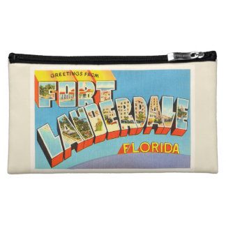 Fort Lauderdale #2 Florida FL Old Travel Souvenir Makeup Bag