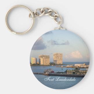 Fort Lauderdale Bay Basic Round Button Keychain