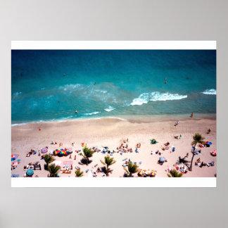 Fort Lauderdale Beach aerial ocean view photograph Poster