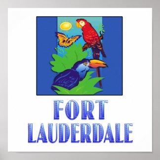FORT LAUDERDALE del Macaw del loro de la maripos Poster