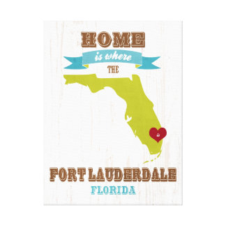 Fort Lauderdale, Florida Map – Home Is Where Canvas Print
