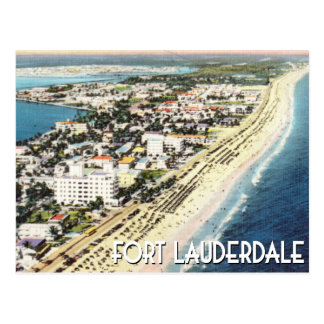 Fort Lauderdale Florida vintage aerial photo Postcard