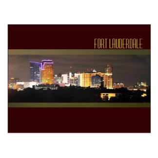Fort Lauderdale's skyline at night Postcard