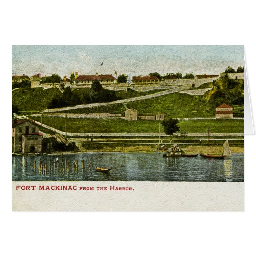 Fort Mackinac from the Harbor Vintage Card