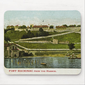 Fort Mackinac from the Harbor Vintage Mouse Pad
