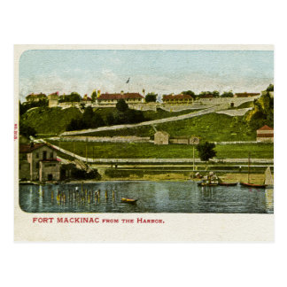 Fort Mackinac from the Harbor Vintage Postcard