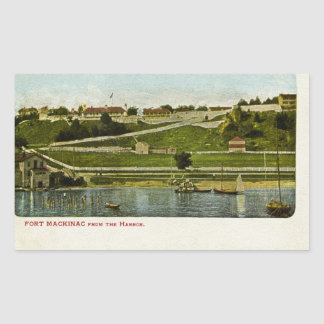 Fort Mackinac from the Harbor Vintage Rectangular Sticker