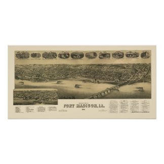 Fort Madison, IA Panoramic Map - 1888 Poster