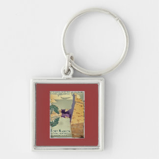 Fort Marion Design Silver-Colored Square Keychain