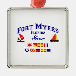 Fort Myers FL Signal Flag Metal Ornament
