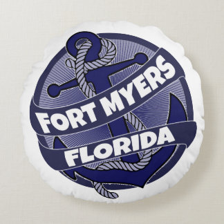 Fort Myers Florida anchor round pillow
