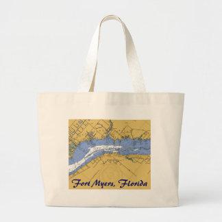 Fort Myers, Florida Nautical Harbor Chart Tote Bag