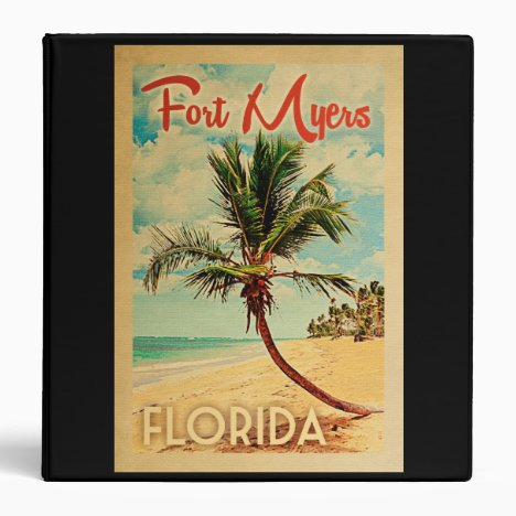 Fort Myers Florida Palm Tree Beach Vintage Travel 3 Ring Binder
