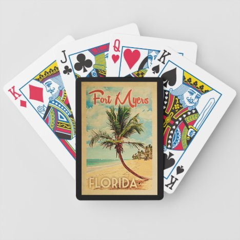Fort Myers Florida Palm Tree Beach Vintage Travel Bicycle Playing Cards