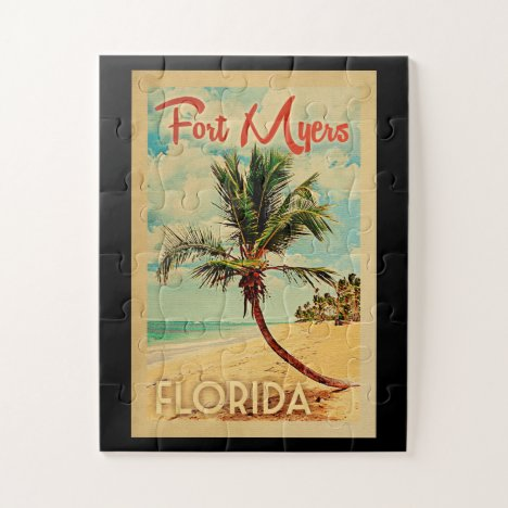 Fort Myers Florida Palm Tree Beach Vintage Travel Jigsaw Puzzle