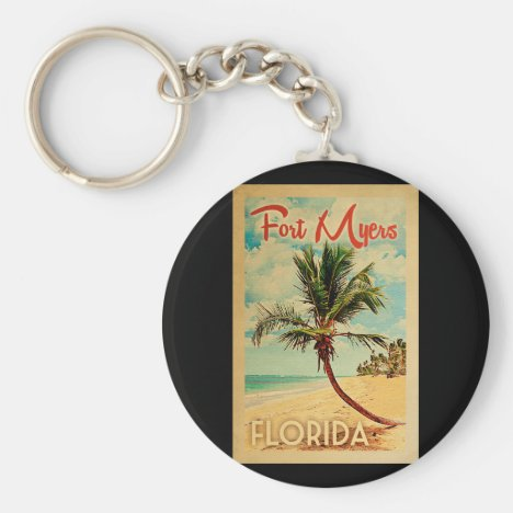 Fort Myers Florida Palm Tree Beach Vintage Travel Keychain