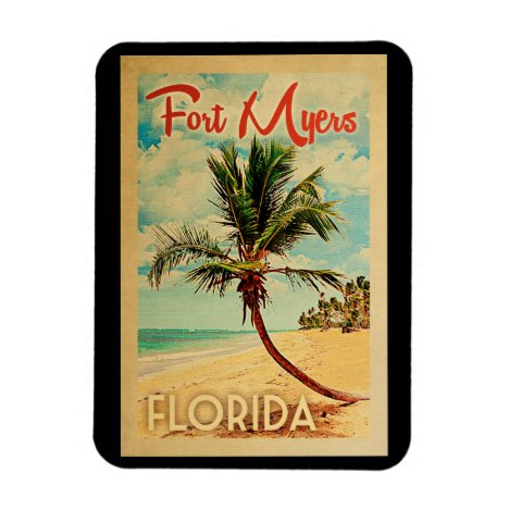 Fort Myers Florida Palm Tree Beach Vintage Travel Magnet