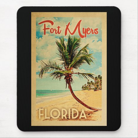 Fort Myers Florida Palm Tree Beach Vintage Travel Mouse Pad