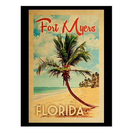 Fort Myers Florida Palm Tree Beach Vintage Travel Postcard