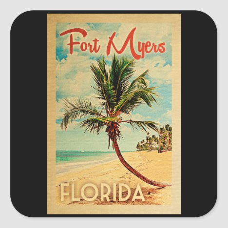 Fort Myers Florida Palm Tree Beach Vintage Travel Square Sticker